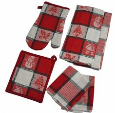 Snowman Jacquard Kitchen Set - 2 Kitchen Towels, 2 Dishclothes, 1 Oven Mitt, 1 Potholder #christmaskitchenset #christmaskitchentowels