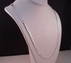 "ITALY 925 STERLING SILVER DIAMOND CUT CURB LINK CHAIN NECKLACE REAL SILVER 24"" #AuthenticItalianTopQualityCraftsmanship #Chain"