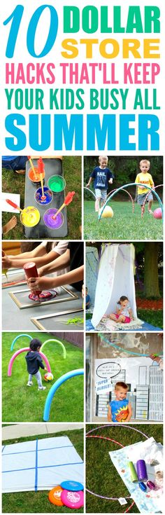 These 10 Dollar Store Hacks to Keep Your Kids Busy All Summer are THE BEST! I'm so glad I found these AMAZING tips! Now I have some great ways to keep my kids off the computer and having fun this summer! Definitely pinning!
