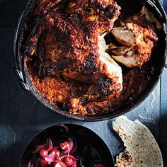 Tomato Vindaloo Potjie with Spatchcock Chicken & Radish Pickle Spatchcock Chicken, Vindaloo, Dutch Oven Cooking, Meat Lovers, Food Hacks, Food Tips, Grilling Recipes, Soul Food, Indian Food Recipes
