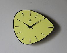 Vintage French Wall Clock Yellow Formica Pebble Design