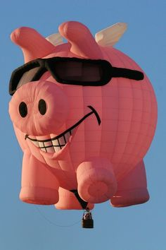 Grinning pig in sunglasses hot-air balloon Air Balloon Rides, Hot Air Balloon, Albuquerque Balloon Fiesta, Vintage Neon Signs, Air Ballon, Flying Pig, Helium Balloons, Belle Photo, At Least