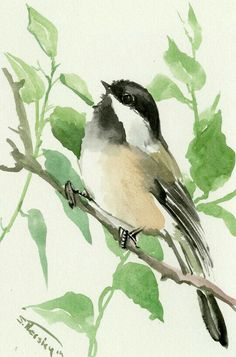 Your place to buy and sell all things handmade Chickadee one of a kind original watercolor painting, bird art, sage brown colors small original painting gift bird lover chickadee art by ORIGINALONLY on Etsy Watercolor Bird, Watercolor Animals, Watercolour Painting, Painting & Drawing, Watercolor Artists, Watercolor Portraits, Watercolor Landscape, Art Original, Bird Drawings