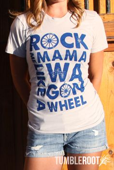 """""""Rock Me Mama Like A Wagon Wheel"""" super cute Old Crow Medicine Show unisex sheer jersey cotton t shirts. """"New Silver"""" material with blue ink.  $30"""