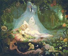 John Simmons was a Victorian painter of fairies. A Chance Encounter Fairy Lying on a Leaf . Art Inspo, Kunst Inspo, Renaissance Kunst, Renaissance Paintings, Fantasy Kunst, Fantasy Art, Bel Art, Fairy Paintings, Indian Paintings