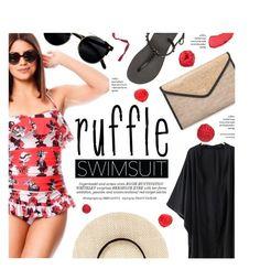 """Ruffled Up Swimwear"" by federica-m ❤ liked on Polyvore featuring Chanel, Ashley Stewart, Whiteley, Havaianas and ruffledswimwear"