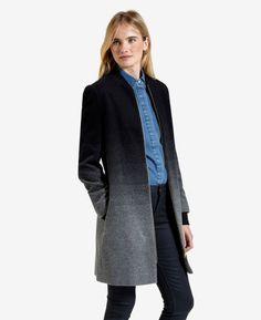 Wool ombré cocoon coat