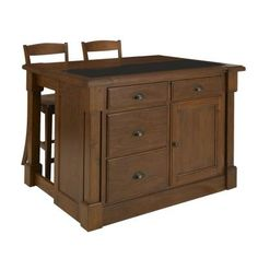 Home Styles Aspen Kitchen Island with Hidden Drop Leaf & Granite Top and Two Bar Stools-5520-9459 at The Home Depot