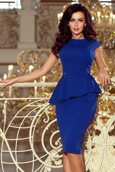 Elegant midi dress with frill - royal blue Latest African Fashion Dresses, Women's Fashion Dresses, Dress Outfits, Classy Work Outfits, Classy Dress, Casual Outfits, Elegant Midi Dresses, Sexy Dresses, Summer Dresses
