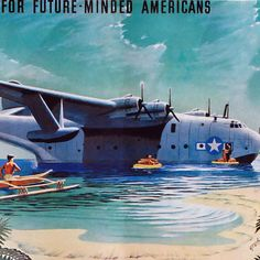 Detail Of Martin JRM Mars US Navy Cargo Seaplane 1935 - Mad Men Art: The 1891-1970 Vintage Advertisement Art Collection