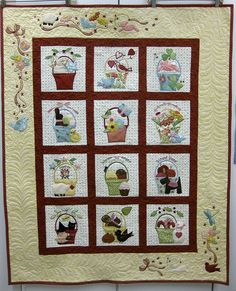 Quilted by Lynn Douglass Hand Embroidery Patterns, Applique Patterns, Quilt Patterns, Applique Designs, Baby Applique, Applique Fabric, Scrappy Quilts, Mini Quilts, Basket Quilt