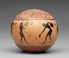Ball depicting palaistra scenes Greek, Late Archaic Period, about 500 B.C. Athens, Attica, Greece