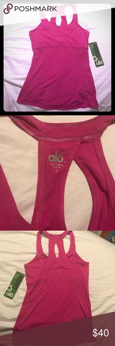 Alo pink bamboo yoga strive tank Alo yoga top in hot pink. Style is called yoga strive tank. ALO Yoga Tops Tank Tops
