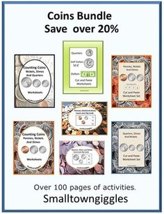 Coins: Bundled to Save over 20% . In this printable coin bundle set, you will receive all 7 of my teaching coins products. That is 110 pages of coin worksheets which includes currency identification, coin value, coin sorting and counting, coin count and clip cards, coin cut and paste worksheets, tracing worksheets, sequence worksheets and much more.