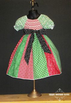 d1b4ce2027e2 Cotton Boutique Peasant Dress Stripwork Christmas Red Green Infant Baby 6 12  18 24 month Toddler
