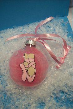 Christmas Ornament Glass Handpainted-  Ballerina Slippers. $10.00, via Etsy.