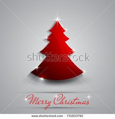 Simple red and glossy Christmas tree isolated on background