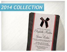Black Red Vintage Bow Linen Wedding Invitations