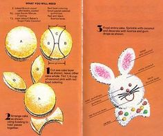 bunny cake! from a vintage Cut-up Cake book