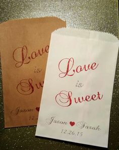 Love is Sweet, Wedding Candy Bag, Wedding Candy Buffet, Candy Favor Bags, Treat Bags, Kraft Bags, Personalized bags by ForeverYoursDezigns on Etsy
