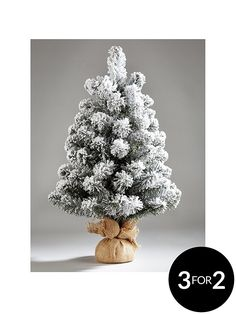 60 Cm Flocked Emperor Christmas Tree in White Snowy Christmas Tree, Christmas Wreaths With Lights, Snowman Christmas Decorations, Hanging Christmas Tree, Christmas Tree Baubles, Decorating With Christmas Lights, Green Christmas, Pre Lit Wreath, Pre Lit Garland