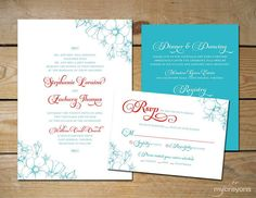 Poppy Script Floral Wedding Invitation Set by MyCrayons // Tiffany Blue and Red Wedding Invitation // Printable Invitation