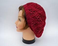 Lace Knit Hat  Women's Slouchy Tam In Garnet  by BettyMarieJones, $25.00