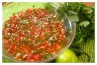 Hot Salsa: Cut tomatoes in half and rub over box grater over bowl, so that the pulp goes in the bowl and you are left holding the skins (removes skin the easy way). Add chopped: white onion; jalapeno peppers, and cilantro.  Stir in lime juice, dash of cumin, pinch of sugar, drops of evoo and balsamic vinegar, kosher salt, black pepper, dash of oregano, and, minced garlic. Mix together.  Refrigerate for two hours and then test to see if any adjustments needed.