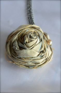 fabric Rosette Necklace by brianaautran on Etsy, $9.00