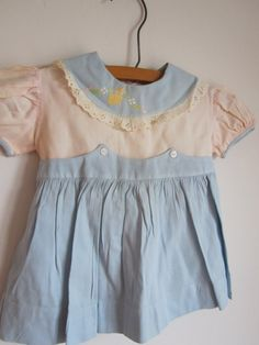 Sweet blue white pink Vintage Toddler Baby by happyacornvintage, $22.00