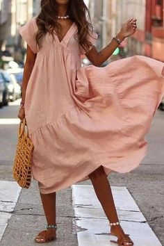 2019 Women V-Neck Pure Color Loose Dress Vestido Casual Short Sleeve Party Dresses Ladies Fashion Female Summer Beach Long Dress Size S Color Hot Pink Maxi Dress With Sleeves, V Neck Dress, Plain Dress, Casual Dresses For Women, Short Sleeve Dresses, Short Sleeves, Ladies Dresses, Dress Casual, Casual Wear
