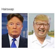 Kim Jong Un Funny   Donald Trump vs Kim Jong Un - Funny hair swap - Jokes ...