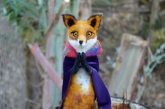 Needle Felted bust Magician red fox by Harthicune by Harthicune