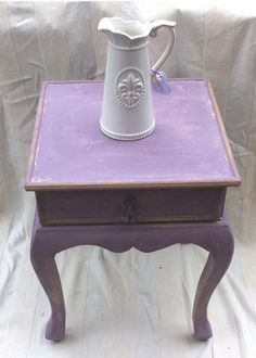 Purple And Cream Ornate Bedside Table