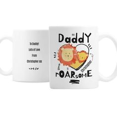 Personalised Roarsome Fathers Day Mug - Happy Father's Day - First Father's Day - Father's Day Gift - Daddy gift Fathers Day Mugs, First Fathers Day, Gifts For Father, Happy Fathers Day, Daddy Gifts, Father Birthday, Birthday Gifts, Puppy Gifts