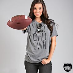 touchdown tee | grey with black lettering | super soft unisex shirt | get ready for football season with this tee | ShopRiffraff.com