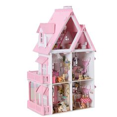 Free Shipping Assembling DIY Miniature Model Kit Wooden Doll House, Unique Big Size House Toy With Furnitures for Birthday Gift