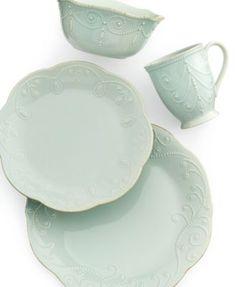 Lenox Dinnerware, French Perle Ice Blue 4 Piece Place Setting | macys.com