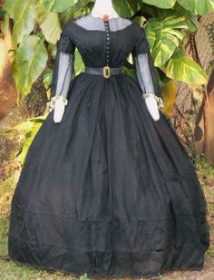 Silk Gauze Dress c.1860 with original buttons and trim; shown with original buckle, collar and brooch