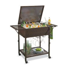 This high-quality Cooler Cart features a durable steel frame, galvanized steel chest and dual locking casters.