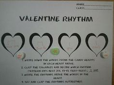 In My Music Class: Valentine Rhythms. Use candy hearts to notate rhythms using ta and ti-ti Music Lesson Plans, Music Lessons, Music Activities, Classroom Activities, Classroom Ideas, Holiday Activities, Valentine Music, Valentines, Music Worksheets