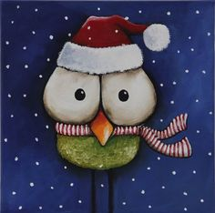 Original acrylic canvas painting whimsical bird snow scene Christmas hat & scarf #Modernism