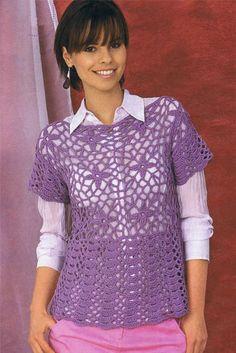 Сиреневый пуловер. Модели для молодых, связанные крючком