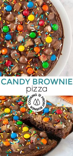 How about pizza for dessert? This Candy Brownie Pizza is so fudgey, with chocolate frosting and topped with your favorite candies. Not diet food but it's okay to splurge once in awhile, right? #dessertpizza #chocolate #fudgy #candy #halloween #sprinkles #leftovercandy