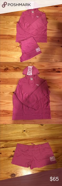 Victoria Secret Pink New Pink Nation over sized hoodie and matching shorts. Hoodie is size small and matching shorts size medium. Looking to trade. PINK Victoria's Secret Other