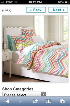 chevon bed spreads.com | Cute chevron bedding from PB teen!! | For the Home