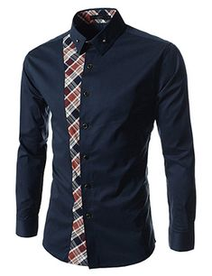 (FLS161-NAVY) Slim Fit Checker Attached Long Sleeve Shirts