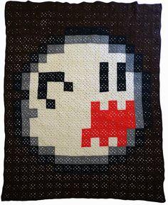Mario Ghost Boo - 8 bit crochet afghan blanket