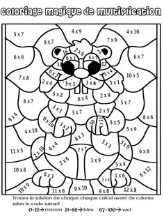 Multiplication Coloring Worksheets Grade Mosaic coloring pages for Math For Kids, Fun Math, Color Activities, Math Activities, School Holidays, School Fun, Groundhog Day Activities, Math Multiplication, Fractions Équivalentes