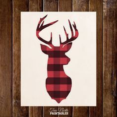 Deer Head Antlers in Buffalo Plaid  by TrueNorthPrintables on Etsy, $5.00